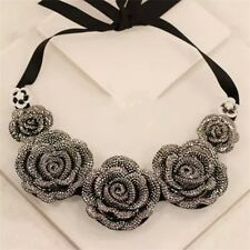 Vogue Luxury Charm Crystal Nice Rose Flower Cloth Chain Bib Statement Necklace