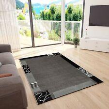 Frisee Kurzflor Teppich, Modern in Grau Schwarz, Muster mit Umrandung NEU