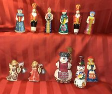 Vintage Russian Painted Carved Wood Ornament Lot 11 Pc  Christmas Tree Ornament