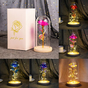 Beauty and the Beast Inspired Led Light Enchanted Rose in Glass Dome Decor Gift