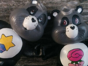 CUSTOM LOT 2 Vintage Care Bear Poseable Figure PERFECT & POLITE PANDA Twins 3""