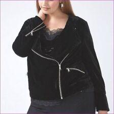 NEW $90 Lane Bryant Coat BLACK VELVET MOTO BIKER JACKET xl 1x 2x PLUS SIZE 18/20