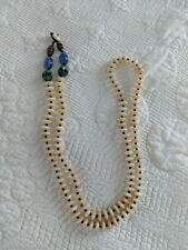 """Handmade Mop Flat Bead Necklace with Black Beads and other gems, 40"""""""