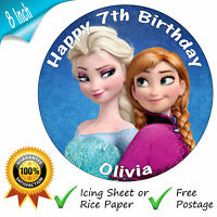 "DISNEY FROZEN ANNA & ELSA PERSONALISED 8"" ROUND EDIBLE PRINTED CAKE TOPPER"