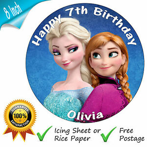 "DISNEY FROZEN ANNA & ELSA PERSONALISED 8"" ROUND EDIBLE PRINTED CAKE TOPPER"