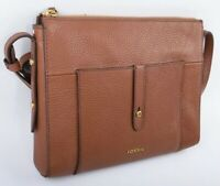 FOSSIL Women's GEMMA Crossbody Bag, Cow Hide Leather, Medium Brown