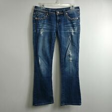 Miss Me Womens Jeans Size 27 Measures 30x30 Boot Low Rise Dark Wash Distressed