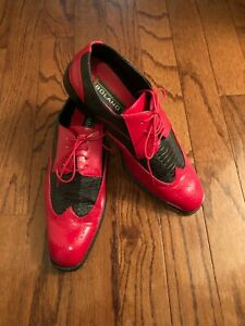Mens Black&red Dress Shoes Size 11 Pre-owned in Good Condition