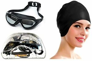 Latest Anti Fog UV Protect Black Swimming Goggle With cap for swimming gifts