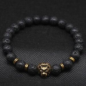 Fashion Men Black Lava Stone Gold Silver Lion Beaded Cuff Charm Bangle Bracelet