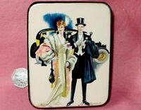 Laqueado Caja Rusa J. C. Leyendecker Genuino Pintado a Mano Retro Dama Caballero