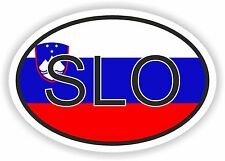 OVAL FLAG WITH SLO SLOVENIA COUNTRY CODE STICKER CAR MOTOCYCLE AUTO TRUCK LAPTOP