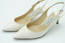 Jimmy Choo Erin 60 Latte Patent Leather Slingback Pump EU39 NIB
