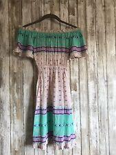 $140 MAHIYA Bohemian CLEMENTINE Turquoise Dreams Dress Small Medium S/M Handmade