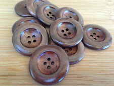 10 x 35mm Dark Coffee Wood Button Wooden Buttons Sewing Clothing Embellishment