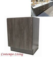 "24"" European Style Single Door Bathroom Cabinet Vanity Walnut Wood Grain Finish"