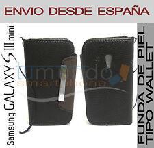 FUNDA CARTERA PIEL NEGRA SAMSUNG GALAXY S3 MINI i8190 WALLET CUERO EN ESPAÑA