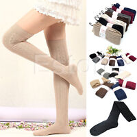 Women Lady Knitting Cotton Over Knee Thigh-High Stockings Socks Pantyhose Tights