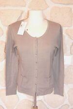Gilet cardigan marron neuf taille L marque POLES 100% laine étiqueté à 159€
