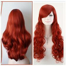 "sexy POISON IVY Batman Red Long Wavy 80cm 32"" Anime Cosplay Hair Wig+Wig Cap"