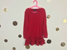 Ralph Lauren Girl Dress Long Sleeve Red Ruffle Dropped Waist Cotton Sz S (7)