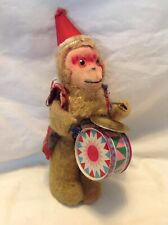 "Vintage 8"" Wind Up Toy Mechanical Drum/Cymbal Beating Monkey-Works"