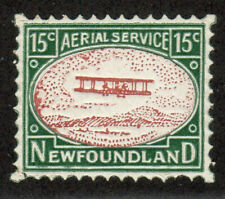 1931 Newfoundland Stamp Aerial Services MNH VF/XF 15c Green Red Brown Bi Plane