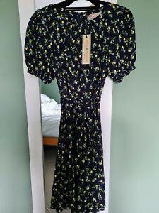BNWT Dorothy Perkins Lemon Print Dress Size 12 Navy