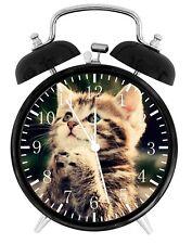 Cute Kitten Cat Alarm Desk Clock Home or Office Decor F77 Nice Gift