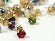 9ct 5mm Birthstone Stud Earrings FINEST UK Quality  Emerald Ruby Sapphire Topaz