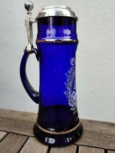 """Bierkrug mit Zinndeckel, blau, """"Jan van Werth"""", Gaffel-Brauerei, Köln, unbenutzt"""