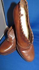 UGG Leather & Sheepskin High Heels Platform Booties Medium Brown US Size: 11