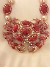 $165 Betsey Johnson  Pearl Crab Pendant Statement  Necklace BSS-23