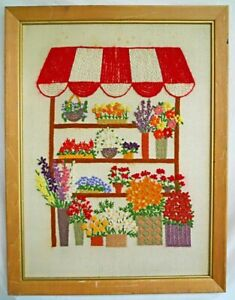 Vintage Needlework Flowers Florist Floral Stand Vendor Large Scale Daisy Whimsy