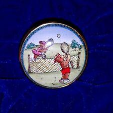 Halcyon Days Porcelain Trinket Box Teddy Bears Playing Tennis original box