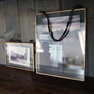 X Large Nkuku Brass Picture Photo Frame Landscape Kiko Clear Glass Double Sided
