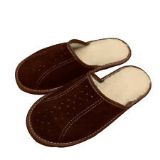Leather Sheep Wool Fluffy Brown Mens Men slippers mules plus size 7 8 9 10 11 12