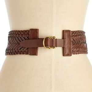 Nautica Women's Braided Stretch Belt Brown Size Medium New