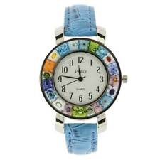 Leather Band - Light Blue GlassOfVenice Serena Murano Millefiori Watch With