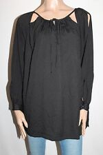 ef Collection Designer Black Open Long Sleeve Blouse Top Size M BNWT #SP23