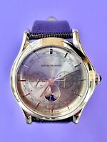 Armani ARS4203 Men's Swiss Made Yellow gold Quartz Watch Moon-Phase Day-date