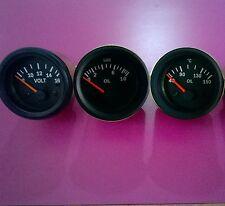 El Gauges 52mm (3pc) - Oil Pressure Gauge +  Oil Temp Gauge +  Volt Gauge- Black