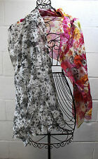 $59 TALBOTS Multi-Color Graphic Black & White Floral Flower Two Tone Scarf Wrap