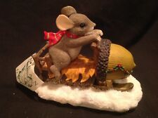 "Dean Griff Charming Tails mouse Maxine's snowmobile ride"" retired Nib 1997"