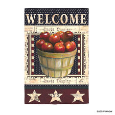 Welcome Garden Flag APPLES Evergreen Presents Suede Reflections