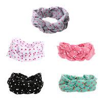 Newborn Kids Baby Girl Cotton Twisted Headband Turban Dot Knot Headwear Headwrap