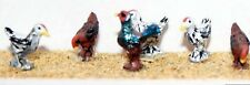 6 Chickens 1 Cockerel F142p PAINTED OO Scale Model 1/76 Animals Metal