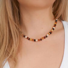 Genuine Natural Baltic Amber Necklace Beads Pearl Brown Cognac Handmade Silver