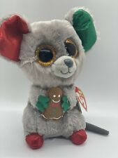 """Ty Beanie Boos MAC the Holiday Mouse Plush Stuffed Toy w/ Gingerbread Man 6"""""""