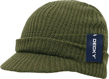 Olive Army Green GI Jeep Cap Knit Beanie Winter Hat Radar Military Tactical Brim
